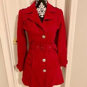 Red button down coat. Diamond crystal buttons